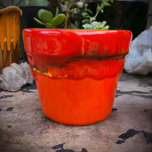 Load image into Gallery viewer, Small California Pottery Orange Red Drip Glaze Planters 4""