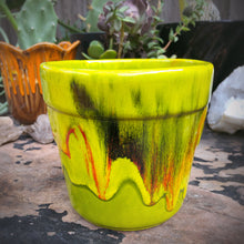 Load image into Gallery viewer, California Pottery Green Drip Glaze Planter 5""