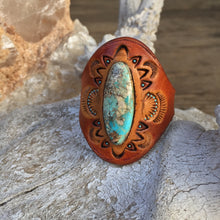 Load image into Gallery viewer, Tooled Tan Leather & Natural Turquoise Ring Size 12