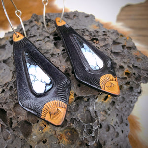 Buffalo & Black Leather Inlay Hoop Earrings
