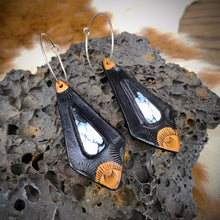 Load image into Gallery viewer, Buffalo & Black Leather Inlay Hoop Earrings