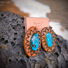 Load image into Gallery viewer, Kingman Turquoise and Tan Leather Stud Earrings