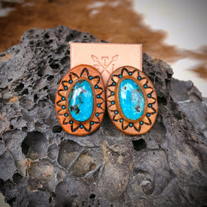 Kingman Turquoise and Tan Leather Stud Earrings