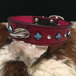 Tooled Leather Dog Collar with Swarovski Crystal and Turquoise Rivets
