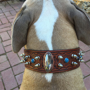 Heavy Duty Tooled Leather Spiked & Riveted Dog Collar