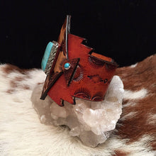 Load image into Gallery viewer, Tooled Leather & Vintage Navajo Turquoise Cuff