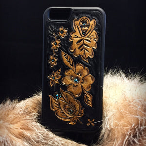 Golden Floral Tooled Leather iPhone 6 Case