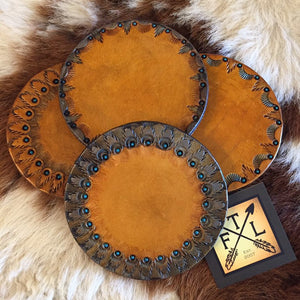 Silver & Gold Deco Tooled Leather Coaster Set (4)