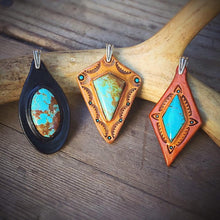 Load image into Gallery viewer, Black Leather & No. 8 Turquoise Inlay Pendant