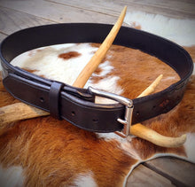 "Load image into Gallery viewer, Black Tooled Leather Belt with Stainless Steel Buckle 32"" - 39"" waist"