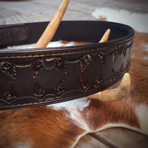 "Black Tooled Leather Belt with Stainless Steel Buckle 32"" - 39"" waist"