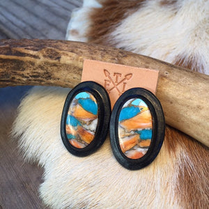 Black Leather and Turquoise Spiney Oyster Mix Oval Stud Earrings