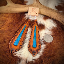 Load image into Gallery viewer, Long Tooled Leather and Kingman Turquoise Inlay Earrings