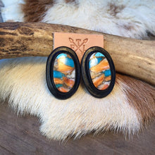 Load image into Gallery viewer, Black Leather and Turquoise Spiney Oyster Mix Oval Stud Earrings
