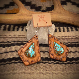 Tooled Leather and No. 8 Turquoise Teardrop Inlay Earrings