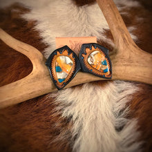 Load image into Gallery viewer, Tooled Leather and Turquoise Spiney Oyster Mix Oval Stud Earrings