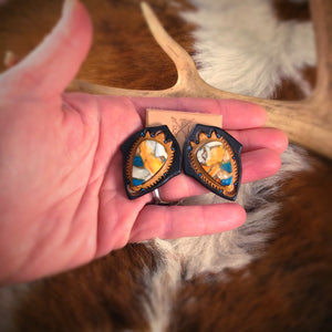 Tooled Leather and Turquoise Spiney Oyster Mix Oval Stud Earrings