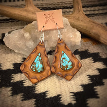 Load image into Gallery viewer, Tooled Leather and No. 8 Turquoise Teardrop Inlay Earrings