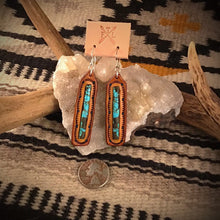 Load image into Gallery viewer, Tooled Leather and No. 8 Turquoise Bar Inlay Earrings