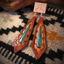 Load image into Gallery viewer, Long Tooled Leather and No. 8 Turquoise Inlay Earrings