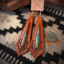 Load image into Gallery viewer, Large Tooled Leather and No.8 Turquoise Inlay Earrings