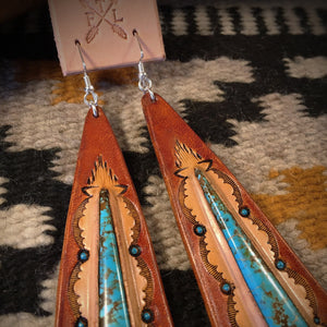 Long Tooled Leather and No. 8 Turquoise Inlay Earrings
