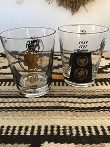 MCM set of 2 Libby Black & Gold Coin Glasses