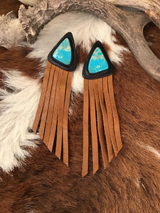 Leather Fringe and Emerald Valley Turquoise Inlay Earrings
