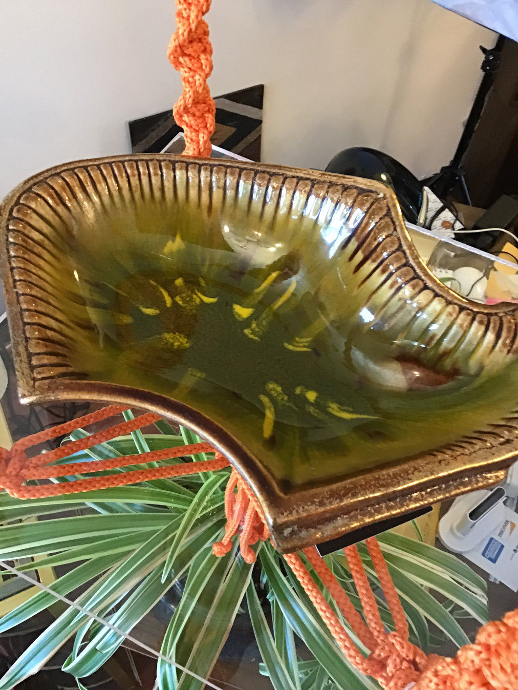 California Pottery Green & Gold Dish