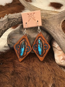 Tooled Leather and Red River Turquoise Inlay Earrings