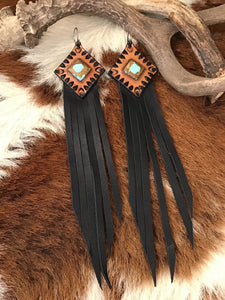 Tooled Leather Fringe and No. 8 Turquoise Inlay Earrings (1st Edition)