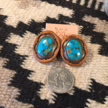 Load image into Gallery viewer, Tan Leather and Kingman Turquoise Stud Earrings