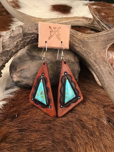 Tooled Leather and No. 8 Turquoise Triangular Inlay Earrings
