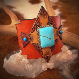 Tooled Leather & Vintage Navajo Turquoise Cuff