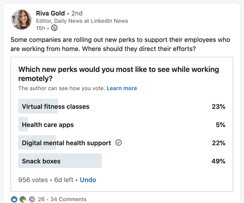 Poll from LinkedIn