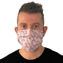 Load image into Gallery viewer, Minnie Mouse Pink Rainbow Face Mask 3 Layers -Kids and Adult sizes - Face Masks Made in Canada -Masques en tissu fait a quebec