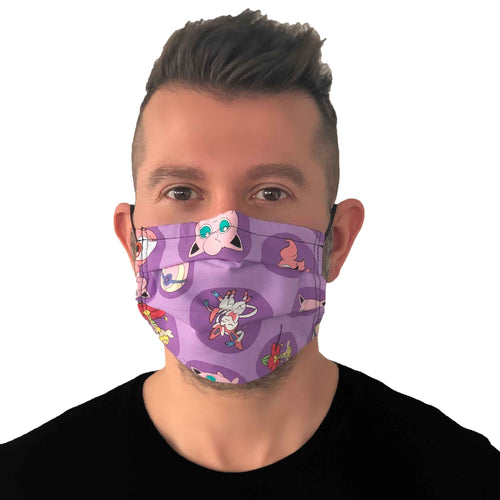 Pokemon Face Mask 3 Layers - Kids and Adult sizes - Face Masks Made in Canada -Masques en tissu fait a quebec