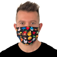 Load image into Gallery viewer, Emoji Face Mask 3 Layers - Kids and Adult sizes - Face Masks Made in Canada -Masques en tissu fait a quebec