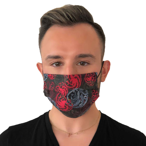 Game of Thrones House Targaryen Face Mask 3 Layers - Kids and Adult sizes - Face Masks Made in Canada -Masques en tissu fait a quebec