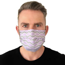 Load image into Gallery viewer, Lilac Geometric Fashion Mask 3 Layers - Kids and Adult sizes - Face Masks Made in Canada -Masques en tissu fait a quebec