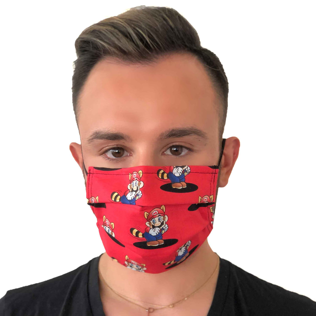 Super Mario Retro Face Mask 3 Layers - Kids and Adult sizes - Face Masks Made in Canada -Masques en tissu fait a quebec