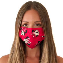 Load image into Gallery viewer, Minnie Red Face Mask 3 Layers - Kids and Adult sizes - Face Masks Made in Canada -Masques en tissu fait a quebec