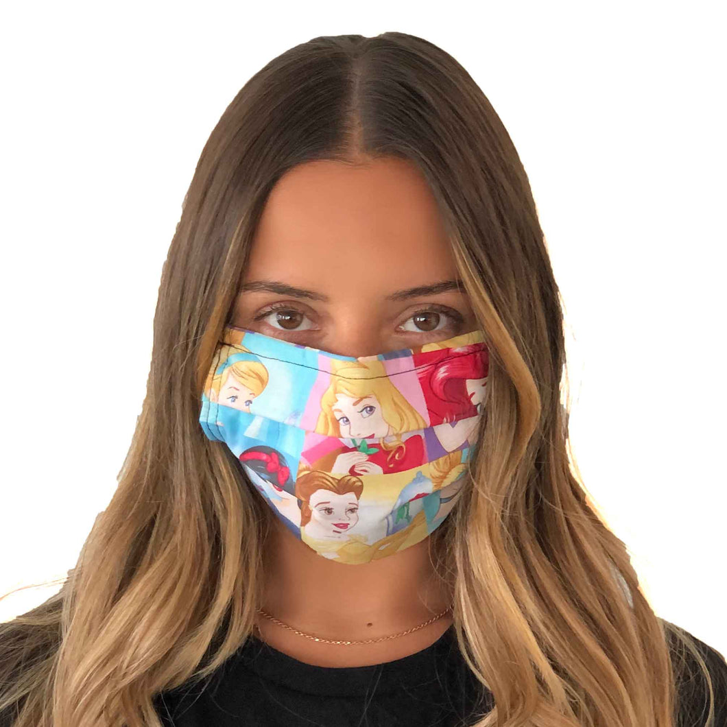 Disney Princesses Face Mask 3 Layers - Kids and Adult sizes - Face Masks Made in Canada -Masques en tissu fait a quebec