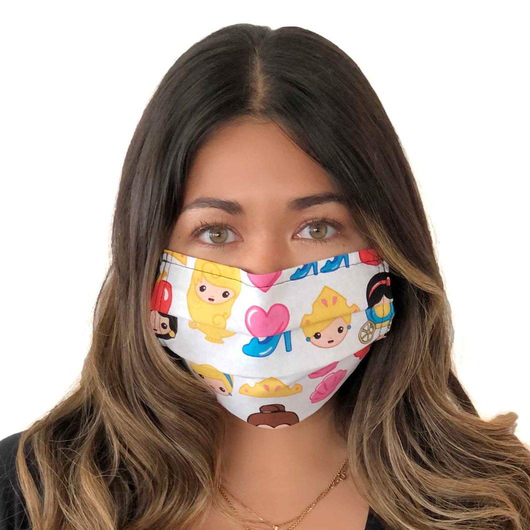 Princess Emoji Face Mask 3 Layers - Kids and Adult sizes - Face Masks Made in Canada -Masques en tissu fait a quebec