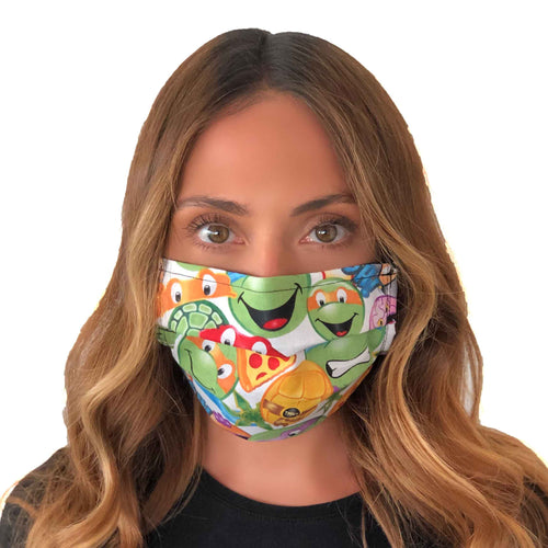 Ninja Turtles Emoji Face Mask 3 Layers - Kids and Adult sizes - Face Masks Made in Canada -Masques en tissu fait a quebec