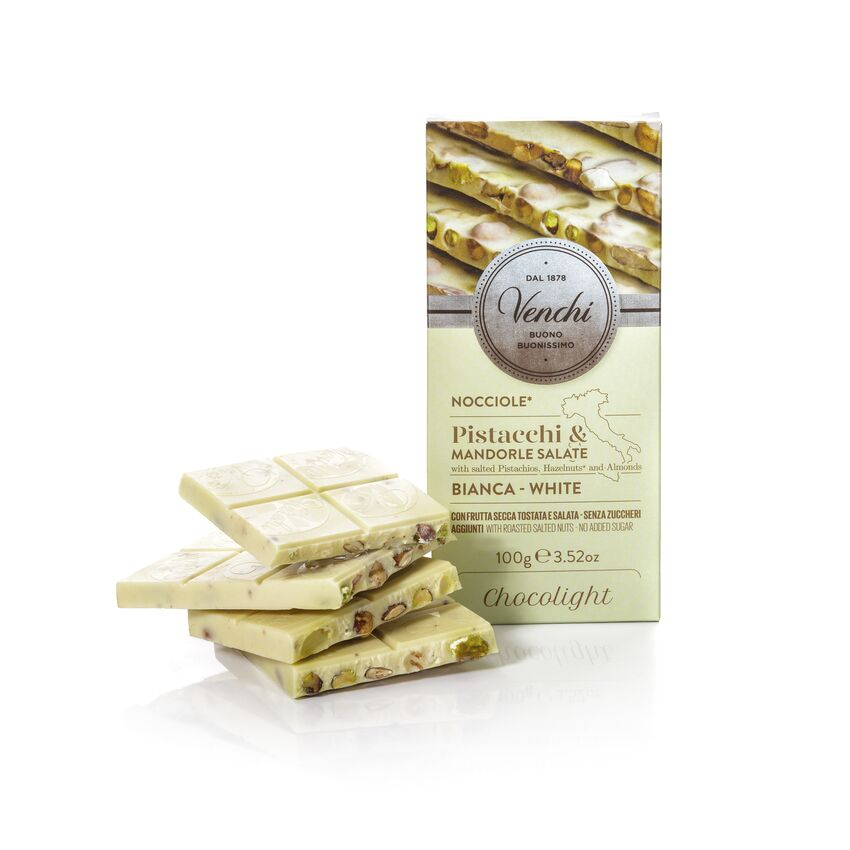 White Chocolate Hazelnut Bar With Salted Nuts Chocolight 100G