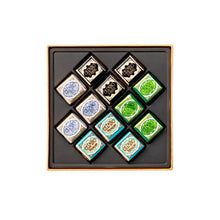 Load image into Gallery viewer, Assorted Cremini Petrol Blue Square Box 134G