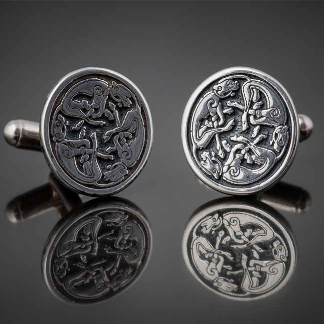 Tain Silver - Triple Dog Pictish Cufflinks