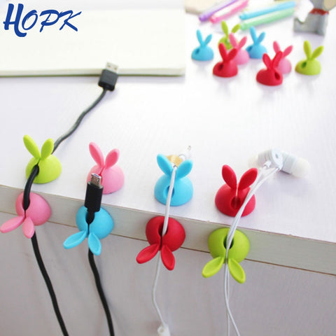 4pcs/bag Cable Storage Desk Set Rabbit Shaped Wire Clip Organizer Space Saving Desk