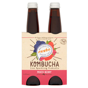 Nexba Naturally Sugar Free Mixed Berry Kombucha 330ml (24 Pack): £ Inc. VAT